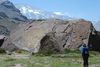 Ancient lakebed in the Andes mountains (Cajon del Maipo). Such fossils inspired Darwin to reconsider geology and time scales.